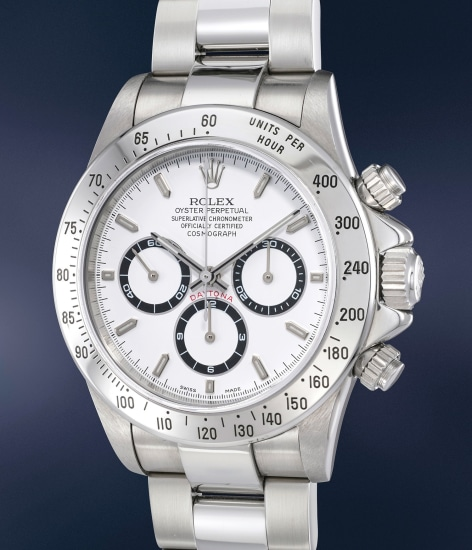 A rare and highly attractive stainless steel chronograph wristwatch with bracelet, guarantee and presentation box
