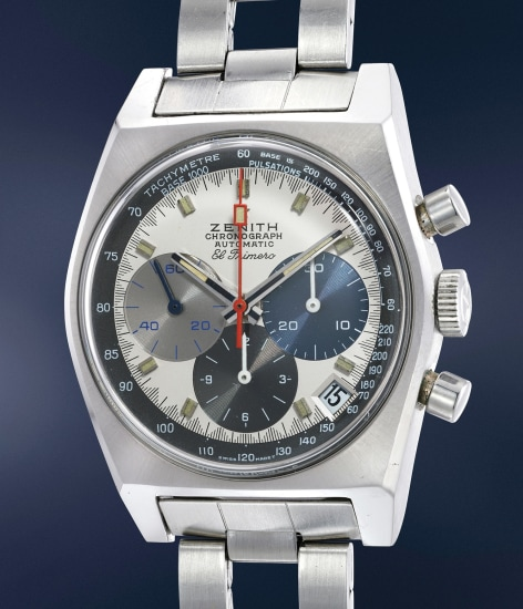 An extremely attractive and rare stainless steel automatic chronograph wristwatch with date and tri-color registers