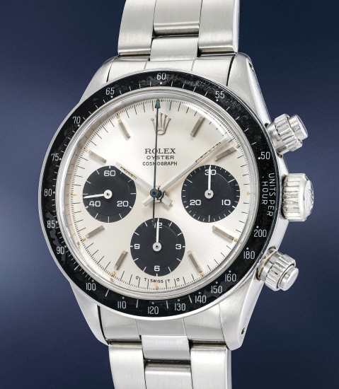 """A fine and very rare stainless steel chronograph wristwatch with """"sigma dial"""" and bracelet, made for the Peruvian Air Force"""
