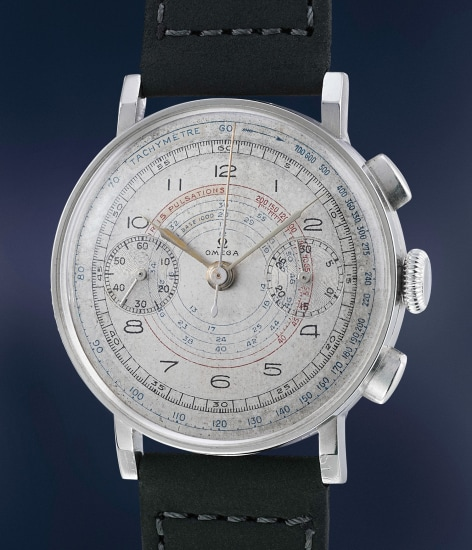 A rare, large and very attractive stainless steel chronograph with multi-scale dial and pulsations scale