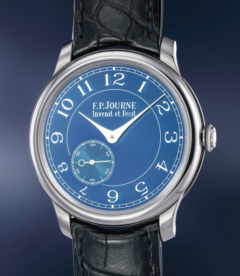 A very fine and rare tantalum wristwatch with chrome blue dial, certificate and presentation box