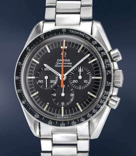 A very rare and unusual stainless steel chronograph wristwatch with orange chronograph hand, bracelet and box