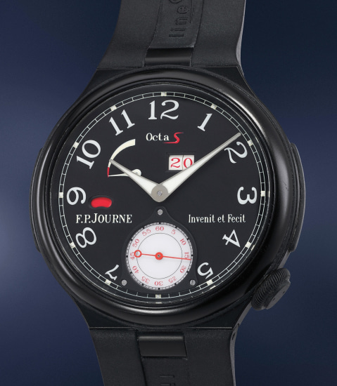 A fine blackened aluminum limited edition wristwatch with date, power reserve and day and night indicator, made to commemorate Jean Alesi's participation in the Indianapolis 500 in 2012