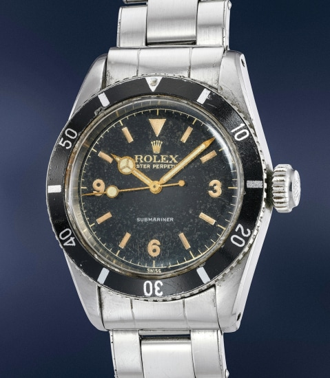 """A highly rare, important and well-preserved stainless steel wristwatch with black lacquer """"explorer"""" dial and bracelet"""