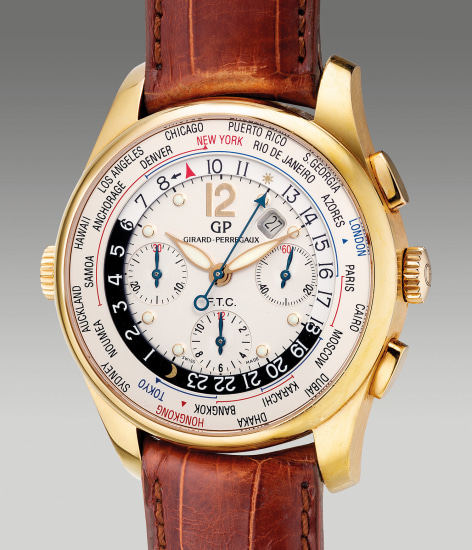 A fine and large pink gold world time chronograph wristwatch with date