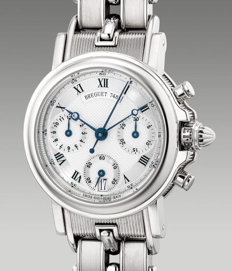 A lady's fine and attractive white gold chronograph wristwatch with date and bracelet