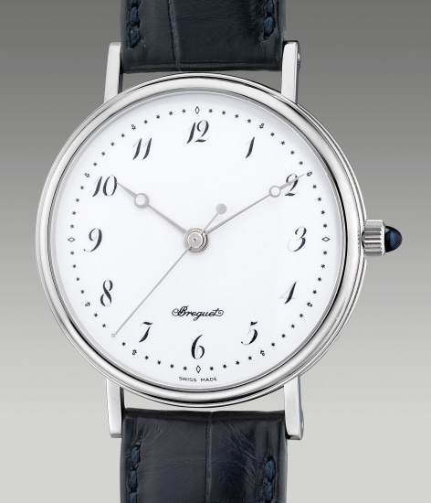 A fine and attractive limited edition platinum wristwatch with center seconds, enamel dial and Breguet numerals, made to commemorate the 225th Anniversary of the Manufacturer