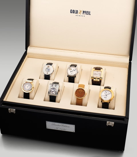 A very fine and rare limited edition set of 7 wristwatches by seven master watchmakers with a large presentation box, numbered 4 out of a limited edition of 25 sets
