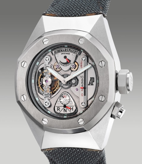 A very fine and rare limited edition oversized alacrite 602 and titanium semi-skeletonized tourbillon wristwatch with dynamographe, power reserve indication and function selector