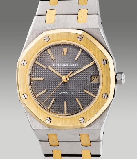 A fine and rare two-tone yellow gold and stainless steel wristwatch with center seconds, date and bracelet