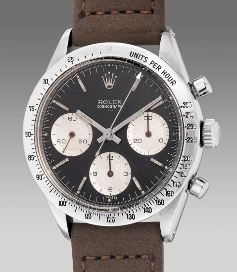"""A very attractive and rare stainless steel chronograph wristwatch with """"underline double Swiss"""" dial"""