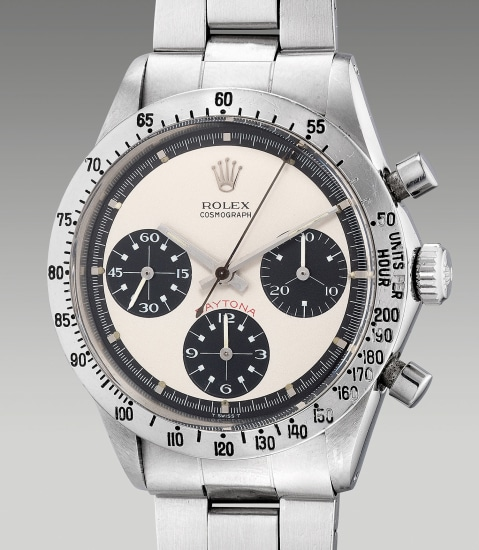 """A very fine, attractive and rare stainless steel chronograph wristwatch with """"Paul Newman"""" dial and bracelet"""