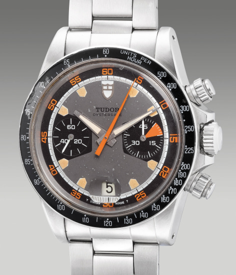 A fine and rare stainless steel chronograph wristwatch with date, bracelet, guarantee and box