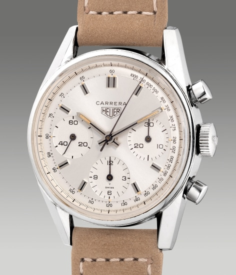 A well preserved stainless steel chronograph wristwatch with tachymeter scale and silvered dial