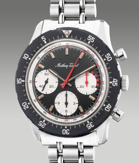 A rare and attractive stainless steel chronograph wristwatch with tachymeter scale,  certificate and presentation box
