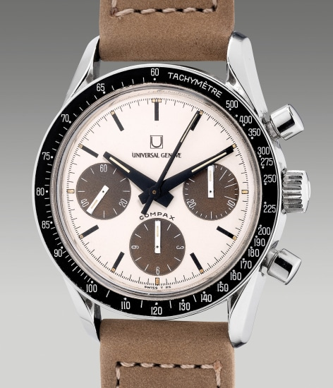 """A rare and highly attractive stainless steel chronograph wristwatch with """"tropical"""" Panda dial"""