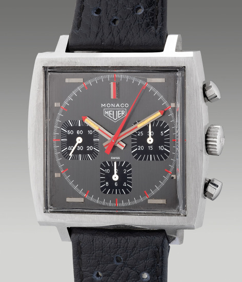 A very fine and well-preserved stainless steel square-shaped chronograph wristwatch