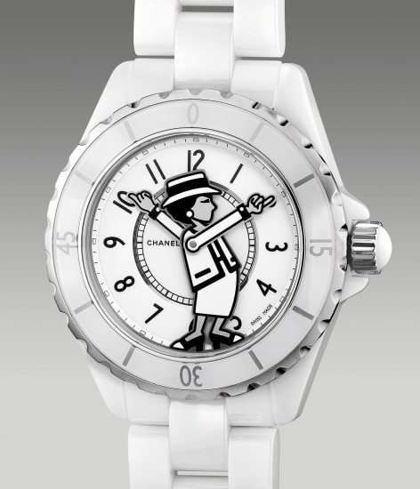 A lady's fine and attractive limited edition white ceramic wristwatch with bracelet, certificate and box