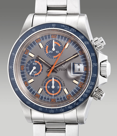 A fine and attractive stainless steel chronograph wristwatch with date, bracelet and box