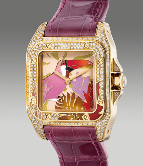 """A lady's elegant and rare limited edition yellow gold and diamond-set square-shaped wristwatch with cloisonné enamel """"Toucan"""" dial, certificate and box, numbered 36 of a limited edition of 40 pieces"""