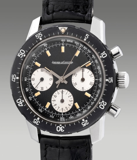 A very fine and attractive stainless steel chronograph wristwatch with tachymeter scale and black stainless steel rotating bezel