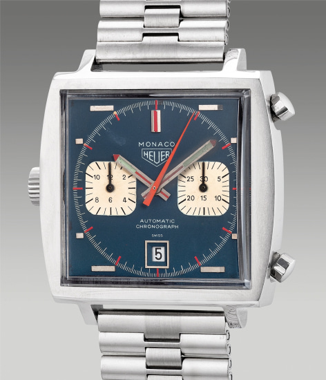 A fine and rare stainless steel square-shaped chronograph wristwatch with date, bracelet and box