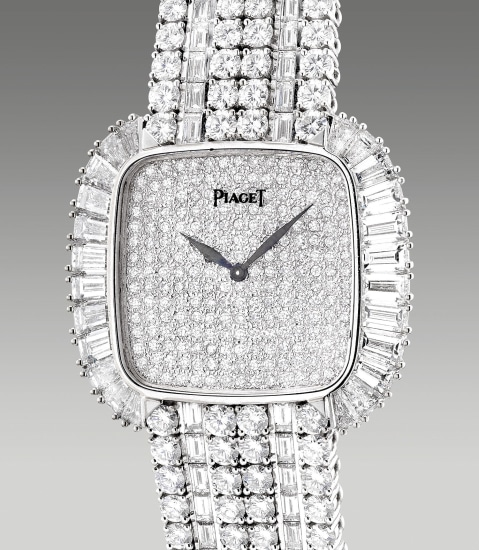 A fine and extravagant square-shaped white gold and diamond-set wristwatch with pavé dial and diamond-set bracelet