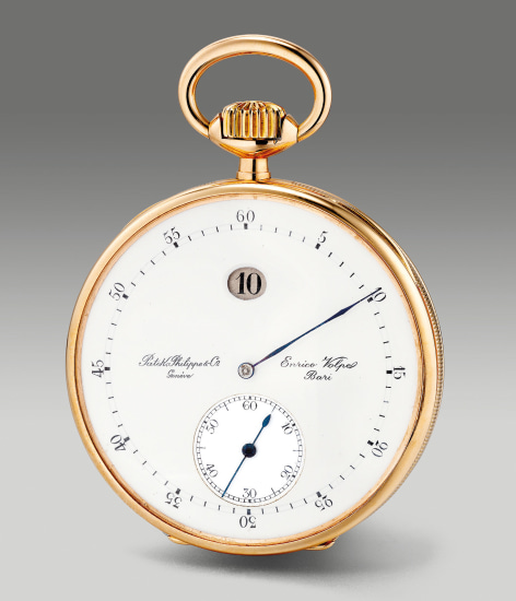 A fine and rare pink gold open faced pocket watch with small seconds, keyless lever, jump hour and enamel dial, retailed by Enrico Volpe, Bari