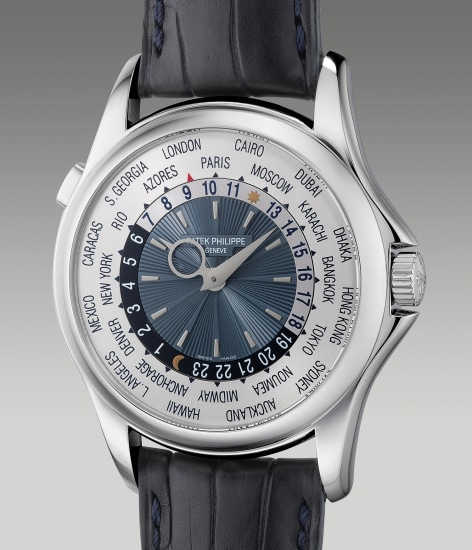 "A fine and rare platinum worldtime wristwatch with ""guilloche"" dial and Certificate of Origin"