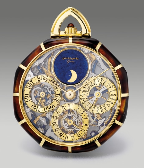 An attractive and rare yellow gold and tortoise shell open faced skeletonized perpetual calendar pocket watch with moon phases, leap year indication and setting pin