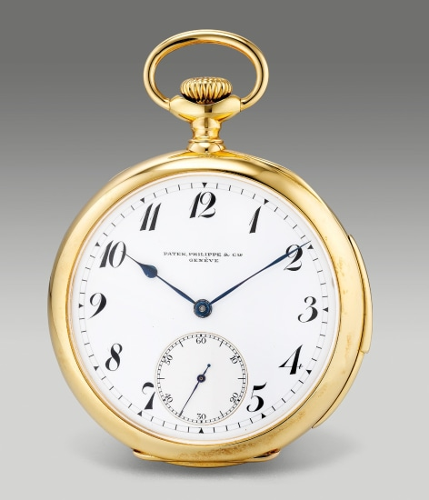 A fine and rare yellow gold open face minute-repeating pocket watch with small seconds, enamel dial and Breguet numerals