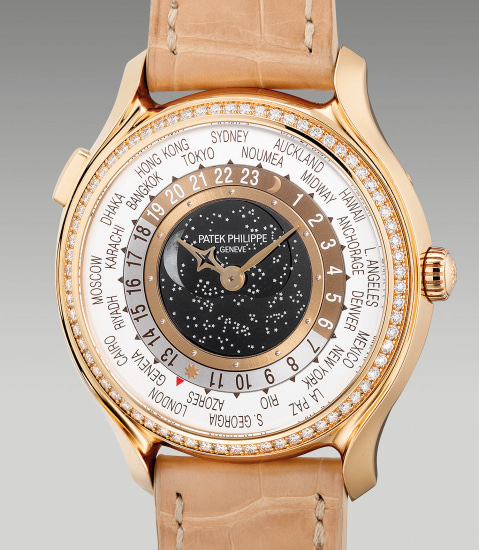 A very fine and highly attractive limited edition lady's pink gold and diamonds-set world time wristwatch with moon phase, Certificate of Origin and presentation box, made for the 175th anniversary of Patek Philippe
