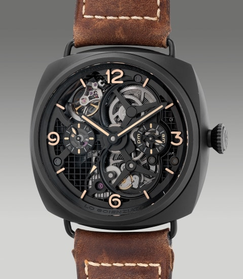 A very fine and attractive limited edition ceramic and titanium perpendicular tourbillon dual time wristwatch with day and night indication, 6-day power reserve indications, certificate and box, numbered 77 of a limited edition of 150 pieces