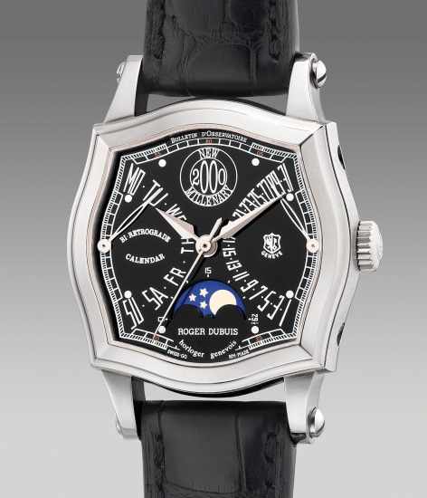 "A fine and rare white gold square-shaped wristwatch with center seconds, retrograde date, retrograde day and moon phases, made to commemorate the ""New Millennium"""
