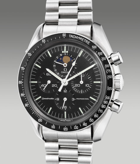 A fine and rare stainless steel chronograph wristwatch with date, moon phases, bracelet and box