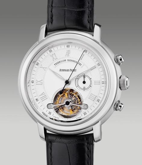 A fine and attractive white gold chronograph wristwatch with tourbillon escapement
