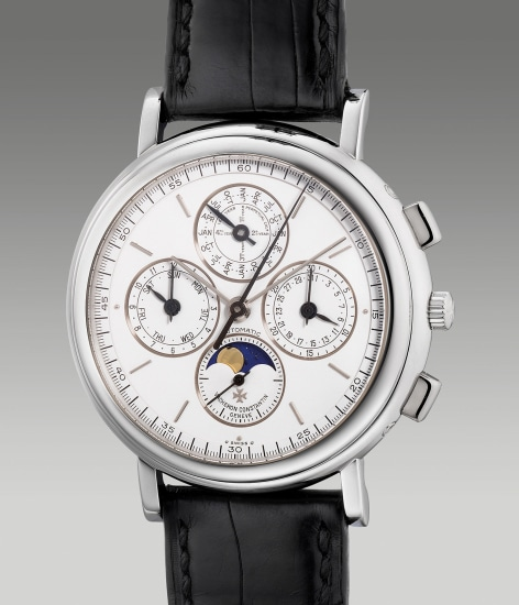 A fine and attractive platinum perpetual calendar chronograph wristwatch with leap year indication and moon phases