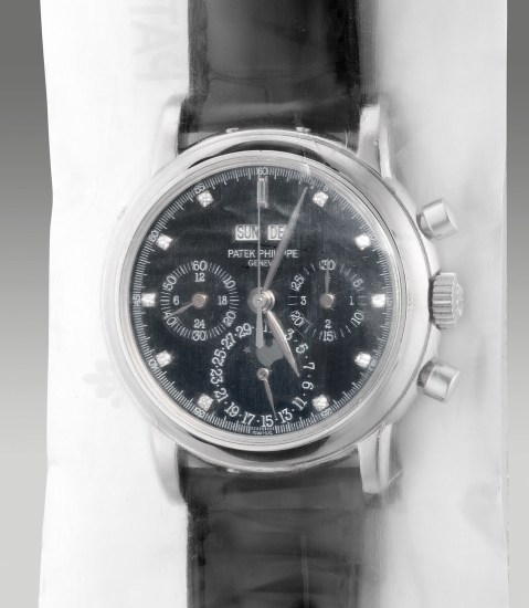 A rare, very fine and elegant platinum diamond-set perpetual calendar chronograph wristwatch with moon phase, leap year, 24-hour indication, additional solid caseback and Certificate of Origin, factory sealed
