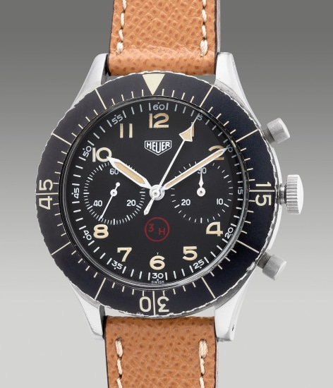 A fine and rare stainless steel military flyback chronograph wristwatch