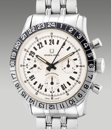 A fine and rare stainless steel chronograph wristwatch with 24-hour indication and bracelet