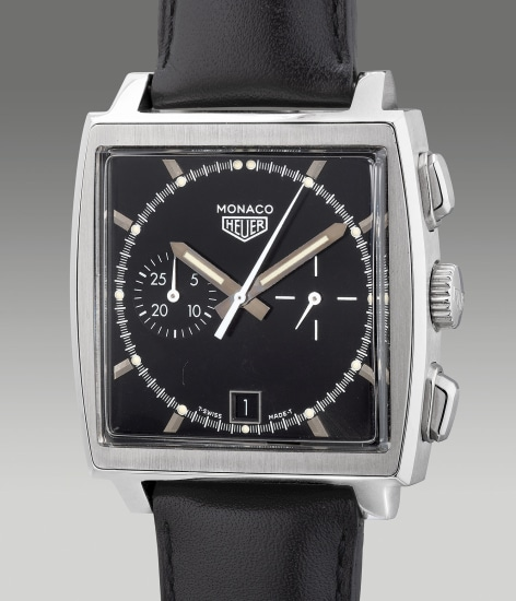 A fine and attractive limited edition stainless steel square-shaped chronograph wristwatch with date, guarantee and box, numbered 278 of a limited edition of 5000 pieces