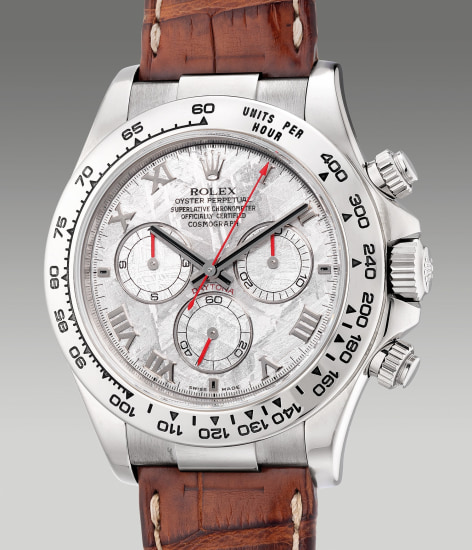 A fine and rare white gold chronograph wristwatch with meteorite dial, guarantee and box