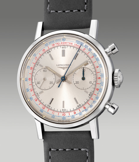 A fine and attractive stainless steel flyback chronograph wristwatch with multi-coloured  tachymeter and telemeter scales