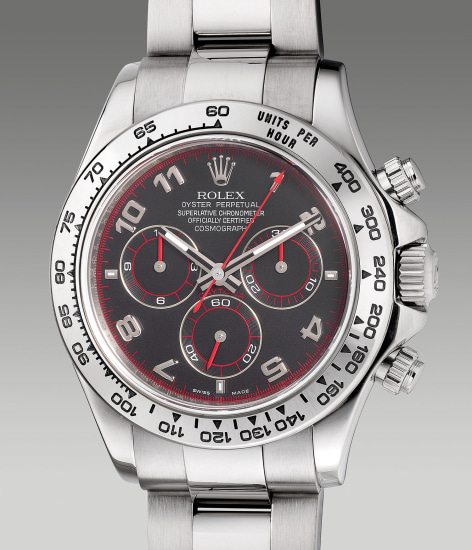 A fine and attractive white gold chronograph wristwatch with bracelet, guarantee and box