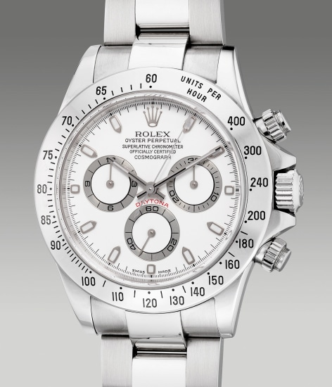 A fine and well-preserved stainless steel chronograph wristwatch with bracelet, guarantee and box