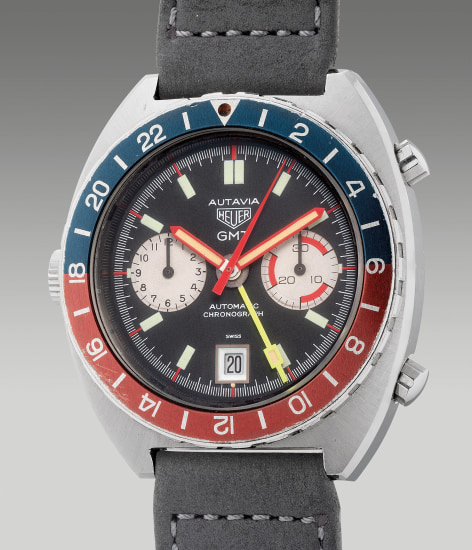 A fine and rare stainless steel cushion-shaped dual-time chronograph wristwatch with date and multi-colored bezel