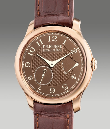 """A very fine and elegant pink gold wristwatch with small seconds, power reserve indication, """"chocolate"""" brown dial, certificate and box"""