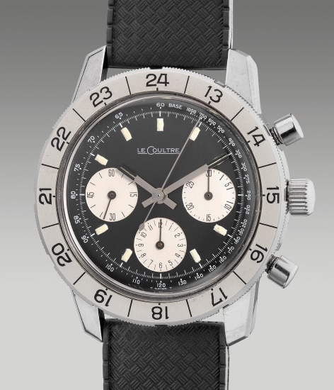 """A rare and fine stainless steel chronograph wristwatch with """"reverse panda"""" black dial, tachymeter scale, with a possible American bezel prototype"""