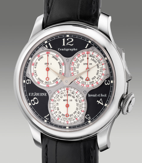A fine and impressive platinum chronograph wristwatch with 100th of a second, 20 seconds, 10 minute register, black lacquer dial, guarantee and box, made exclusively for the F.P. Journe boutiques worldwide