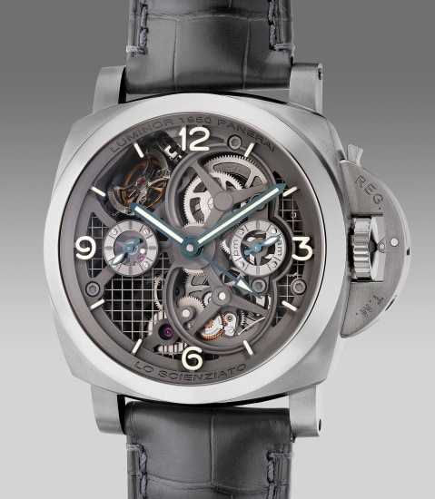 A very fine and rare limited edition titanium skeletonized perpendicular rotating tourbillon dual time cushion-shaped wristwatch with day and night indication, power reserve indication, warranty and box, numbered 52 of a limited edition of 150 pieces